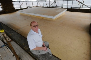 Temporary repairs – Derek Childs on the roof of the masonic lodge