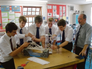 Get ahead at grammar - Westcliff High pupils Daniel Orford, Daniel Copley, James Baker, Milan Radonvanovic, Jack Darby, and teacher Mr Beshoori test towers and bridges made from straws