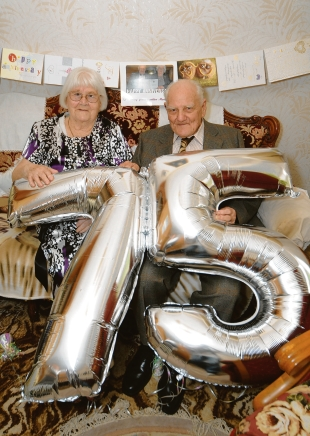 Lill and Bill Monk enjoy a 75th wedding anniversary celebration