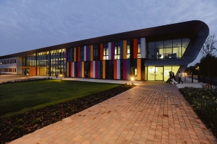 Glass and colour cladding grace the new building
