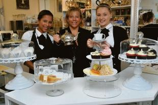 Personal service – tea shop owner Ruth Scally with waitresses Stacey Clarke, left, and Millie Sullivan
