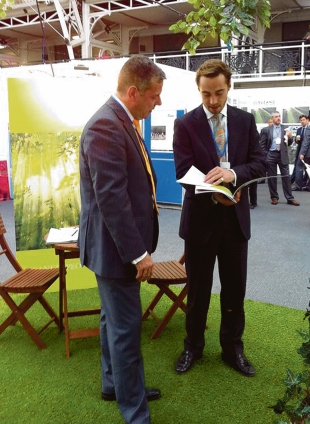Kate's brother – James Middleton, right, at the    carbon trade exhibition in London last month