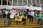 Outraged – union members during a protest out Southend's Civic Centre in September