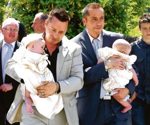 Family – Barrie and Tony Drewitt-Barlow with their twin sons Jasper and Dallas at their Christening last July