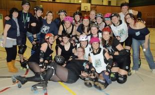 Ready to roll – the Seaside Siren Roller Girls take a break from training at Waterside Farm Leisure Centre
