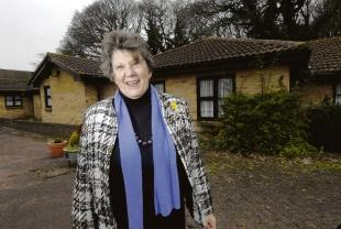 Echo: Over the moon – councillor Wendy Goodwin at the former care home in Beresford Close