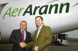 Done deal – Aer Aran's chief executive Paul Schutz is welcomed by Southend Airport's managing director Alastair Welch yesterday morning