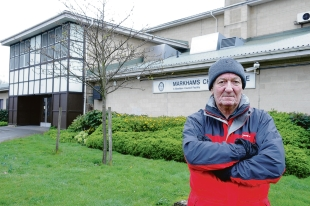 Sad – Dennis Swaysland outside the Markhams Chase leisure centre in Basildon, which the      council has sold off to help fund the Sporting Village