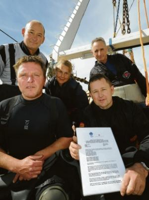 Time team – divers Steve Meddle, Rob Keys, Debbie Woods, Steve Ellis and Bill Sayer