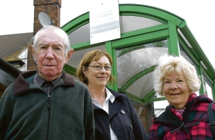 Calling for action – councillors John Beckett  and Lesley Salter with angry      passenger Margaret Webb