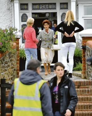 Star turn – EastEnders actress June Brown leaves a house in Thorpe Bay