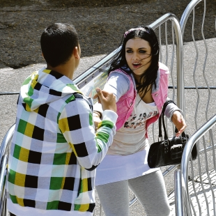 Shona McGarty (Whitney) and Ricky Norwood (Fat Boy) at Adventure Island