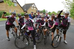 Finished – a group of the bikeathon riders arrive in Langdon Hills after their 160-mile ride
