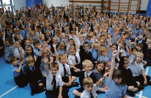 Pupils at Great Berry Primary School, wearing fundraising wristbands to support fellow pupil Daisy Palmer