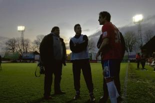 Neil Harris in the dark at Aldershot after the game was abandoned