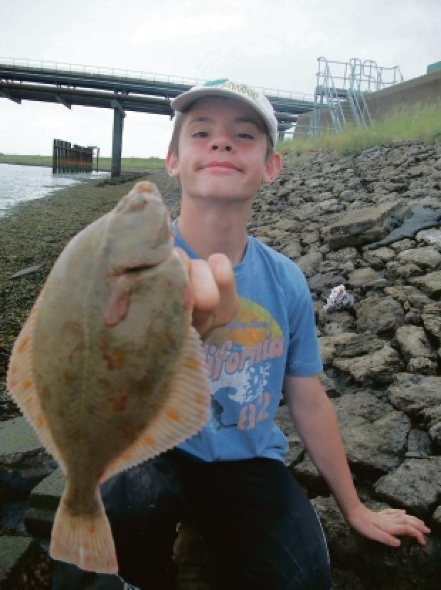 My catch — Marley Macfayden with his 32cm flounder