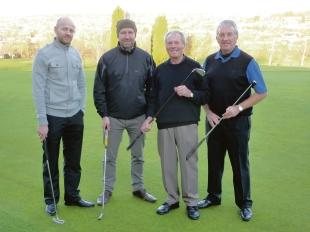 Fit as a fiddle – Bill Brown, second from the right, took part in an epic match at Boyce Hill. He's pictured here with fellow club members Nigel Pyle, Perry Lodge and Dominic Lodge