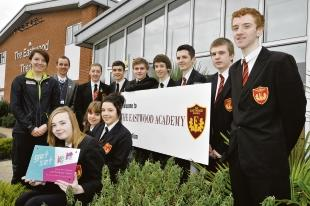 Off to the Olympics — the Eastwood Academy pupils who will be helping out at the London 2012 mountain biking event at Hadleigh