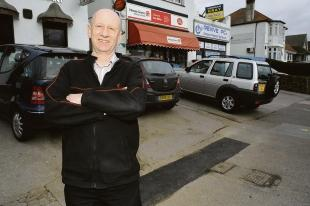 Success – Paul Mills at the spot where bollards were put up by the council last year