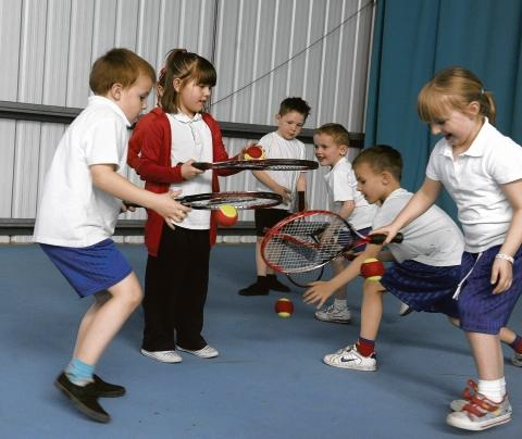 What a racquet - pupils from Woodham Ley primary school practise their skills