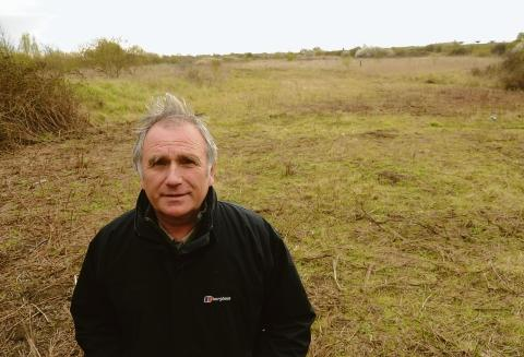 Angry – Canvey Independent Party leader Dave Blackwell at the site