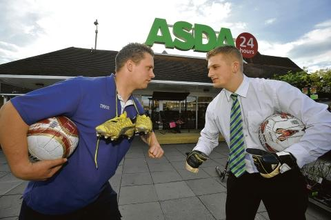 Sales pitch – Tesco captain Lee Clark faces up to his Asda rival, Jay Down, ahead of next month's big match
