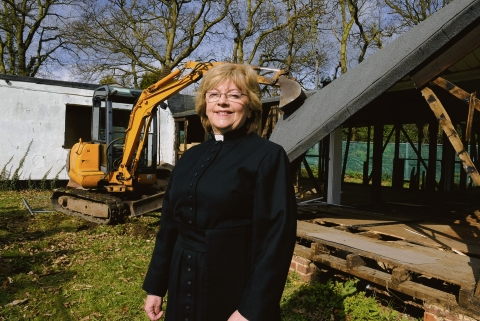 Mixed emotions – the Rev Marian Sturrock was on site to see the demolition