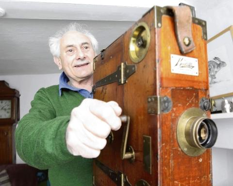 David Cleveland – the film archivist with a 1909-built film projector