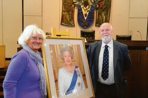 Jubilee plan – Incoming mayor Sally Carr, with outgoing mayor David Norman