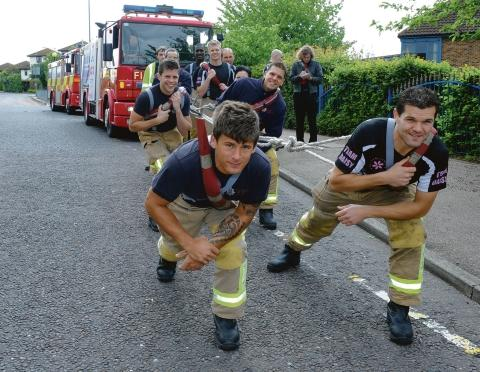 And heeeeeave – firefighters doing the charity engine pull for Daisy Palmer charity, Langdon Hills