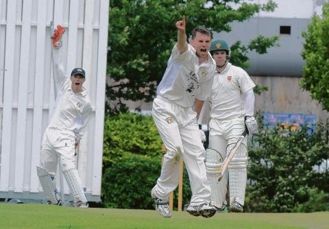 Owzat - Westcliff wicket-keeper Gareth Bull and bowler Adam Pickering appeal to the umpire during their match against Old Southendian