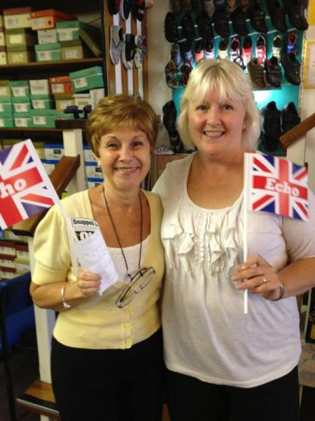 Workers at Garston Shoes, Hadleigh, getting ready for the Olympic Torch Relay