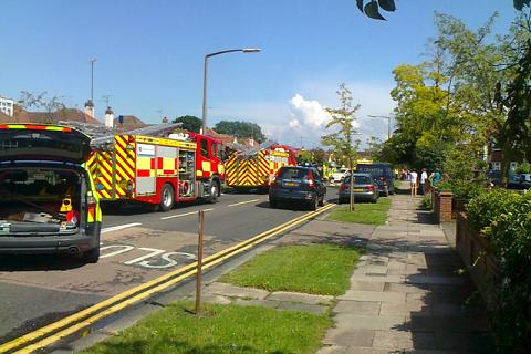 Emergency services at the scene of a crash in the Fariway, Leigh