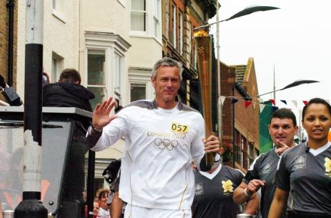 Mark Foster with the Olympic torch