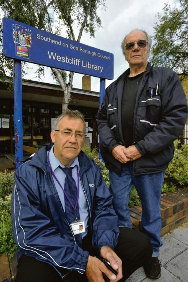 Concern – councillor Martin Terry and resident Dave Batter outside Westcliff library