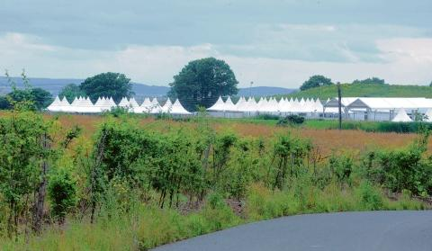Olympic security – tents going up at Hadleigh Farm