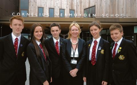 Delighted – Ben Mitchel-More, Paige Holdaway, Connor Allan, Carol Skewes, headteacher, Georgia Holdaway and Brandon Barns