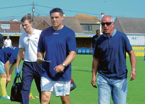 In charge — Steve Tilson, seen with director of football John Batch (right), took command of his first home game since being named as Canvey manager