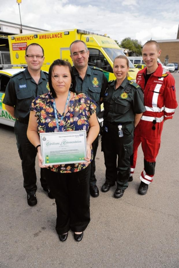 Well done – paramedic Drew McRae, Kerry Jackson, student paramedic Chris Booth, duty ops manager Penny Smith and critical care paramedic Laurie Phillipson