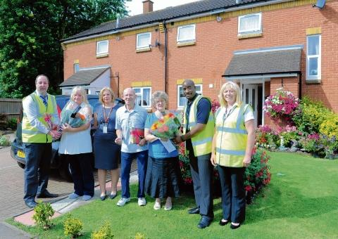 Modern homes – site manager Stephen Hall, resident Mary Thompson, Marilyn Lundrigan from Basildon Council, residents Christine and William Finch, with Warren Hanson and Janice Price from Mitie