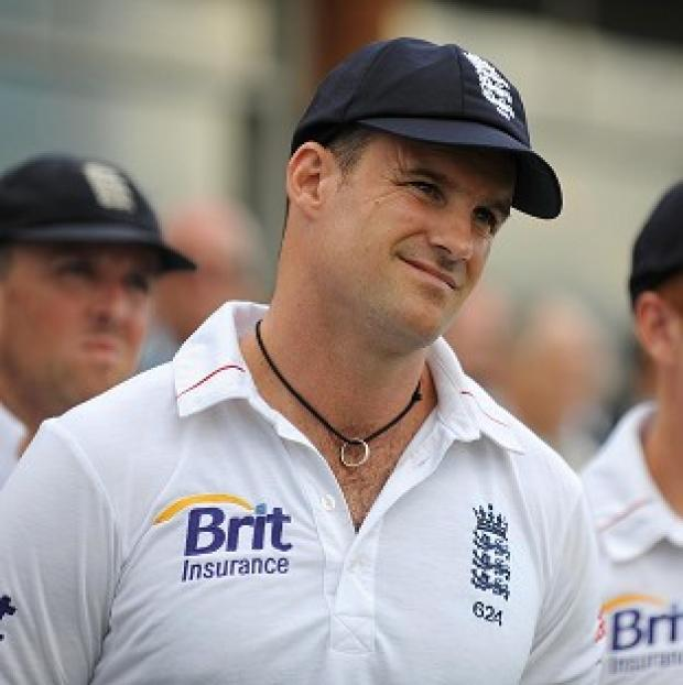 England captain Andrew Strauss stands dejected during the closing presentations after losing against South Africa