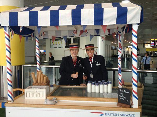 Passengers at Gatwick enjoy Southend's Rossi ice cream