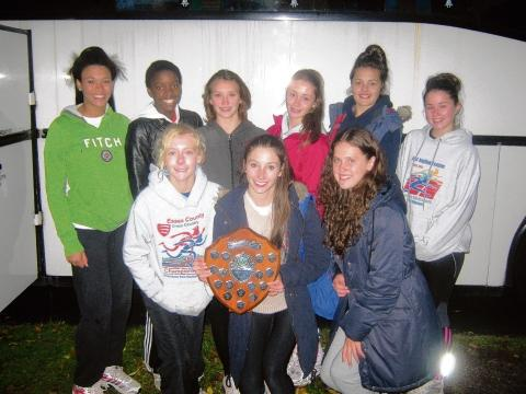 Southend AC's under-15 girls team celebrate with their shield