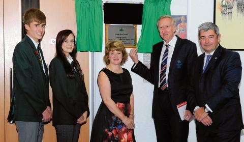 New beginnings – Dr David Hemery unveils a plaque with headteacher Gill Thomas, councillor Stephen Castle and head boy and girl Jack Kelly and Megan Blackwell.