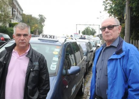 Angry: Taxi drivers Darin Lowe and David Maud