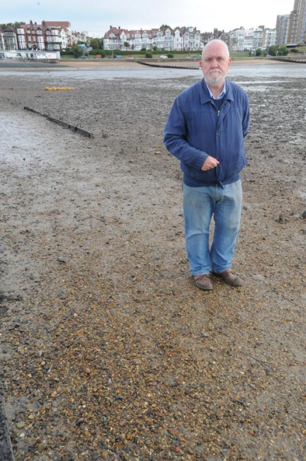 Councillor David Norman on an exposed causeway
