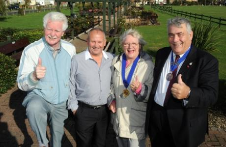 Thrilled: Town councillors John Anderson and Peter May with vice-chairman and chairman Doreen Anderson and Peter Greig outside the gardens