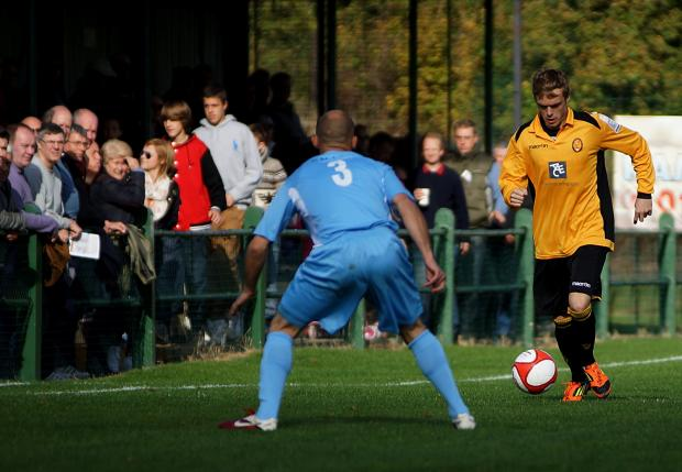 East Thurrock winger Kris Newby in action in their FA Cup win over Maidstone on Saturday.   PICTURE: MIKEY CARTWRIGHT