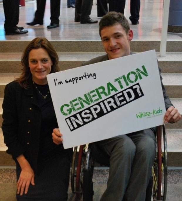 MP Rebecca Harris with Whizz-Kidz Ambassador Jay Portman