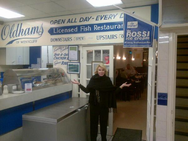 Joan Rivers tucks into fish and chips in Westcliff